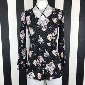 5 for $25 Love Fire Black Floral Strappy Romper